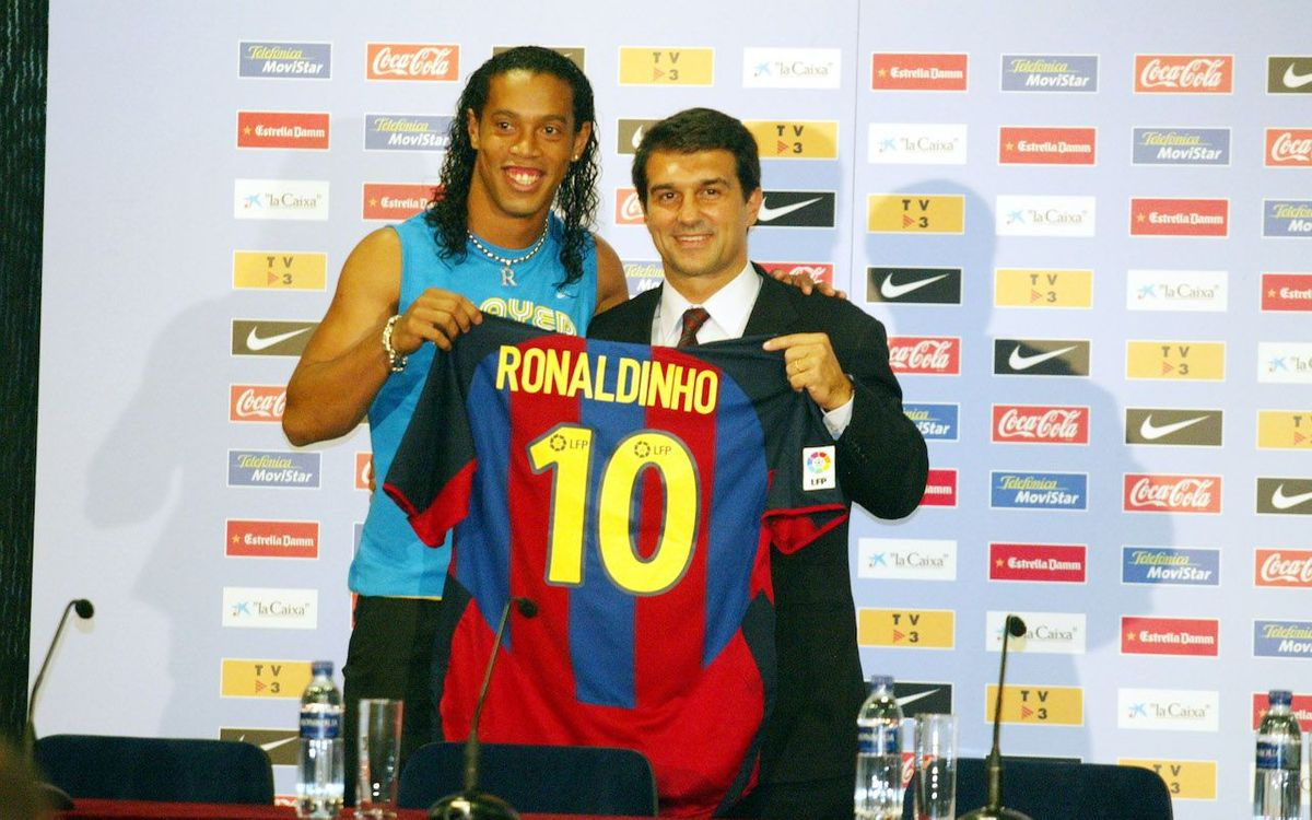 Barca brought in Ronaldinho from PSG in 2003